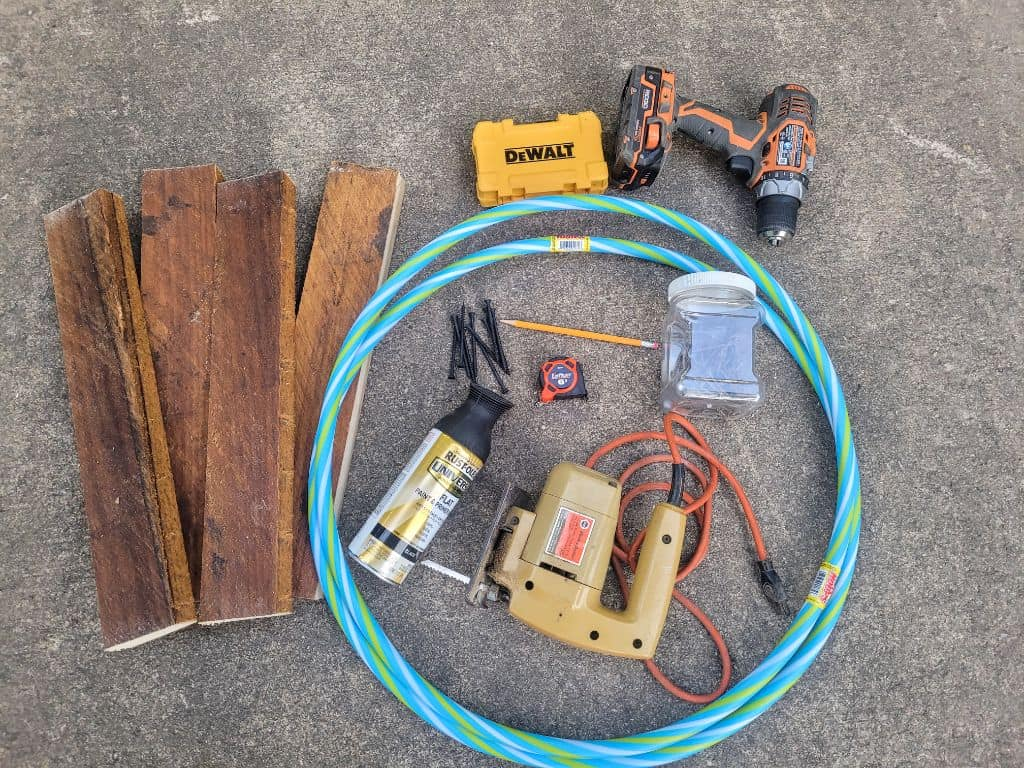 photo of wood, hoops, tools and materials to build a hoop shelf