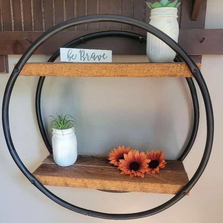 photo of a DIY hoop book shelf